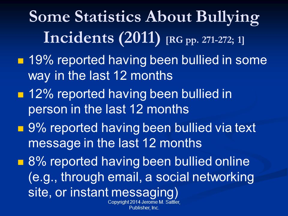 Some Statistics About Bullying Incidents (2011) [RG pp. 271-272; 1]